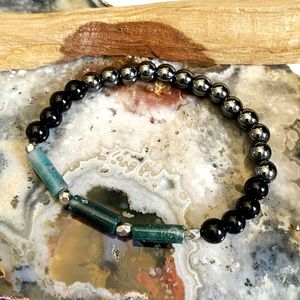 Hematite, Black Onyx and Moss Agate Bracelet